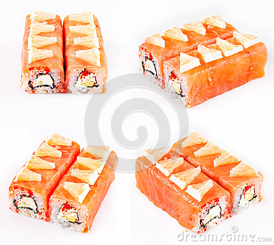 Sushi roll with salmon and cheese