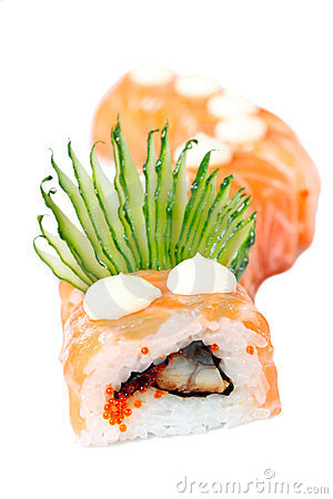 Sushi Roll with salmon, eel and cucumber