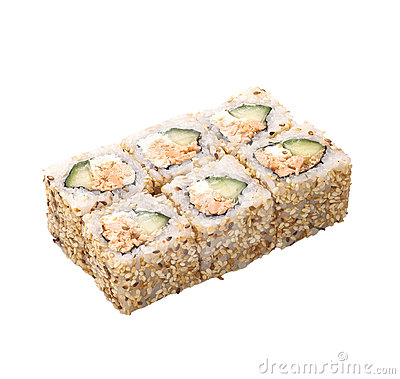 Sushi roll in sesame isolated on white