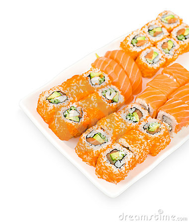 Sushi and rolls, clipping path