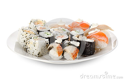 Sushi and rolls in a dishes