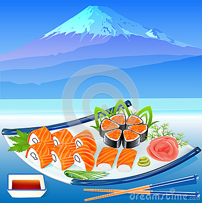 Of sushi rolls with greenery on the background of