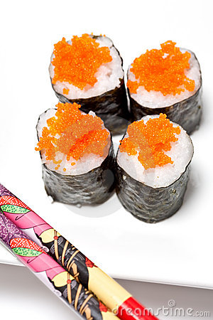 Sushi rolls with salmon fish eggs royalty free stock for Sushi fish eggs