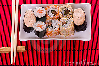sushi rolls on the white plate