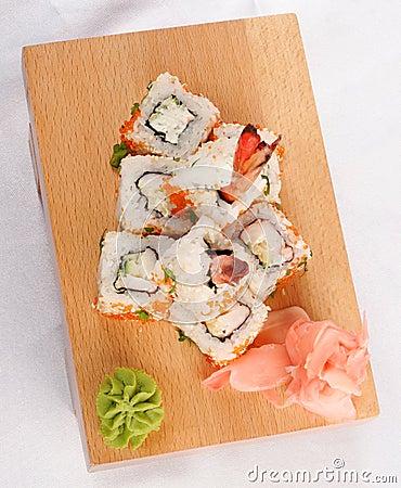 Sushi rolls wish shrimp and caviar