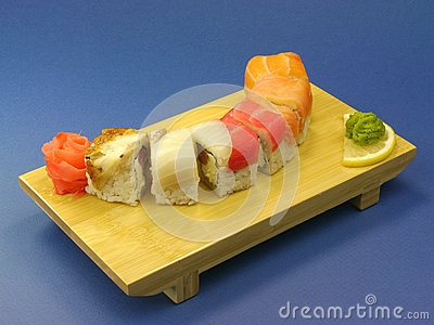 Sushi with salmon and eel