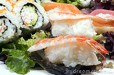 Sushi sashimi with california rolls