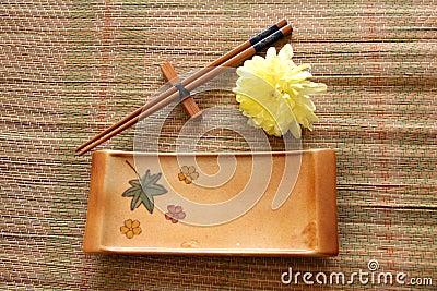 Sushi set on bamboo mat