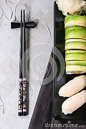 Free Sushi Set Nigiri And Rolls Stock Photos - 67587963
