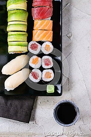 Free Sushi Set Nigiri And Rolls Stock Image - 67588061