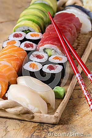 Free Sushi Set Nigiri And Rolls Stock Images - 67588174