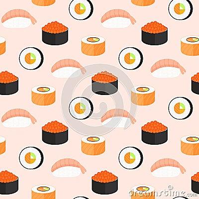 Free Sushi Set, Rolls With Salmon, Nigiri With Shrimp, Maki. Traditional Japanese Food Seamless Pattern. Royalty Free Stock Images - 120740079