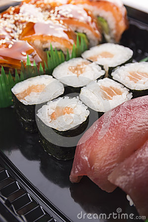 Sushi set sea food with tuna and salmon