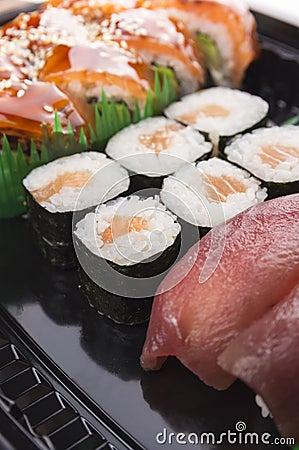 Sushi set sea food with tuna and salmon