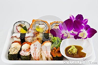Sushi set with wasabi