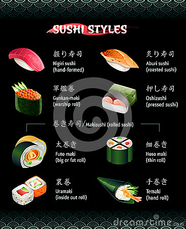 sushi styles stock photography image 36557652. Black Bedroom Furniture Sets. Home Design Ideas