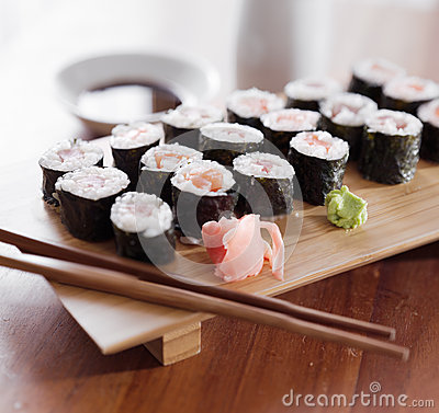 Sushi - Tuna and salmon maki roll.