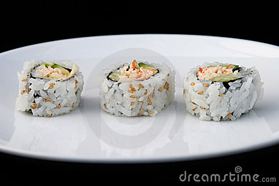 Sushi On White Plate 1