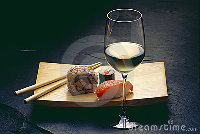 Sushi and wine