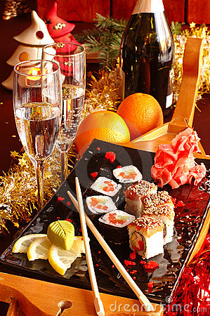 Free Sushi With Champagne Stock Photos - 11829613