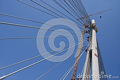 Suspended bridge construction
