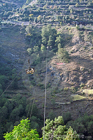 Suspended cable trolley in Indian Himalayas