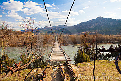 Suspended wooden bridge