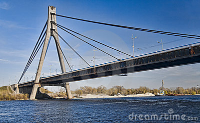 Suspension bridge across Dnieper river in Kiev