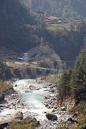 Suspension bridge across Dudh Kosi river, Nepal