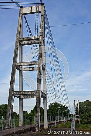 Suspension bridge across the river.