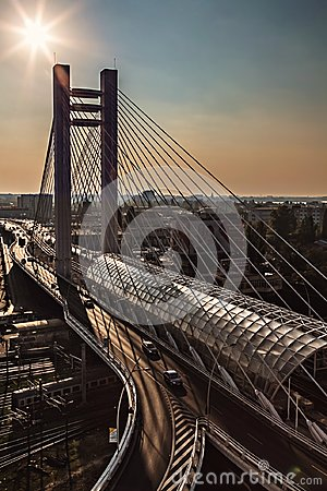 Free Suspension Bridge At Sunset Urban Modern Landmark Aerial View Royalty Free Stock Photo - 105798945