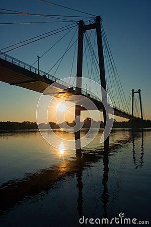 Free Suspension Bridge In Sunrise Royalty Free Stock Images - 216399