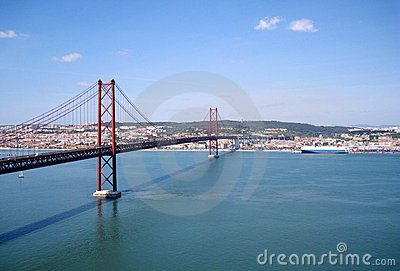 Suspension bridge in Lisbon, Portugal
