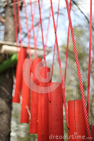 Suspension bridge is a part of high ropes course