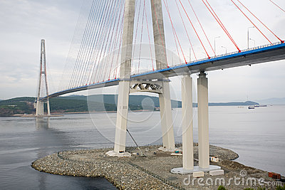 Suspension bridge on Russian island in Vladivostok