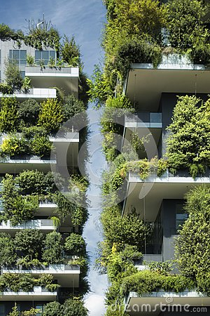 Free Sustainable Architecture, Green Building With Lot Of Plants On Balcony Royalty Free Stock Photos - 102703218