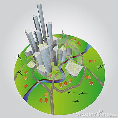 Sustainable city development  illustration