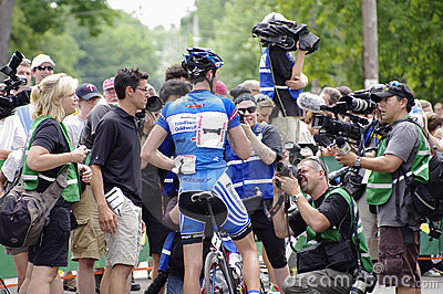 Sutherland Talks to Media After Stage Six Win Editorial Stock Image