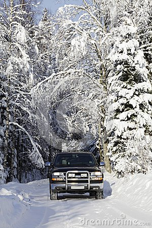 Suv, car, driving in snowy country