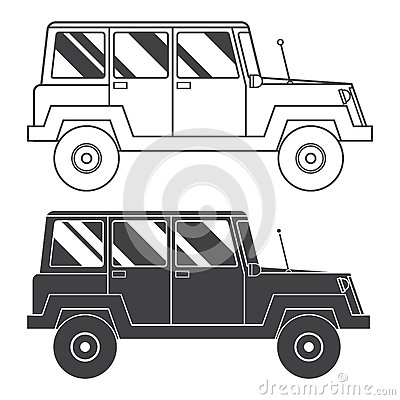 Suv Jeep Outline And Thin Line Icon Stock Vector Image