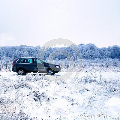 SUV no campo do inverno