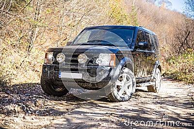 SUV on rocky road