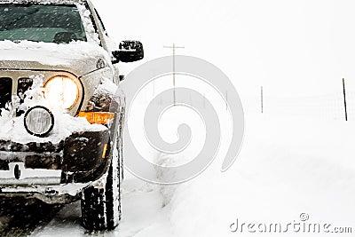 SUV in snow