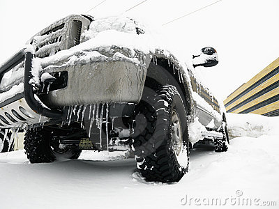 SUV in snow.