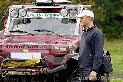 SUVs before the start Editorial Stock Photo