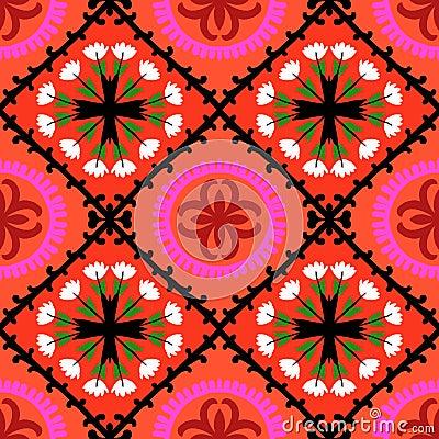 Free Suzani Pattern With Uzbek And Kazakh Motifs Royalty Free Stock Photo - 37825865