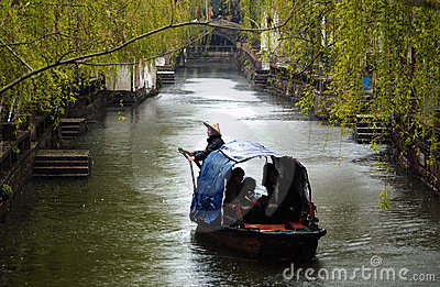 Suzhou ancient water town in rain Editorial Photo