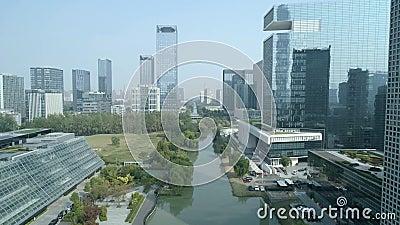 Suzhou Chiny, Listopad, - 1, 2018: Antena strzelająca dzielnica biznesu śródmieście zbiory wideo