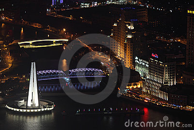 Suzhou Creek at night, Shanghai Editorial Stock Photo