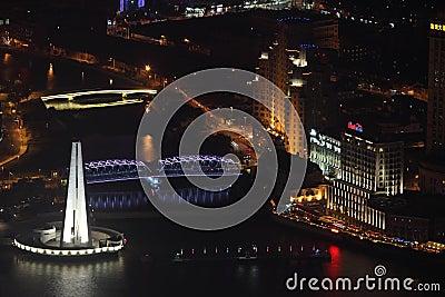 Suzhou Creek at night, Shanghai Editorial Stock Photo